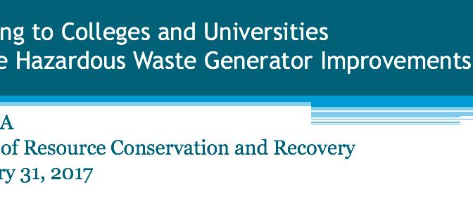 EPA Symposium on new RCRA Generator Requirements