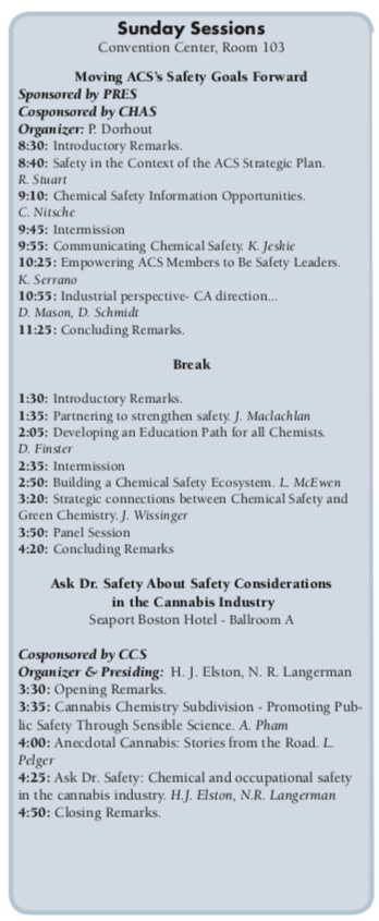ACS Division of Chemical Health and Safety   Connecting
