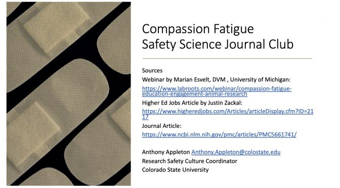 Compassion Fatigue: Safety Journal Club Discussion, Sept 22, 2020
