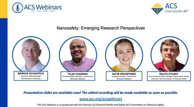 Highlights from ACS Webinar on Nanosafety Research