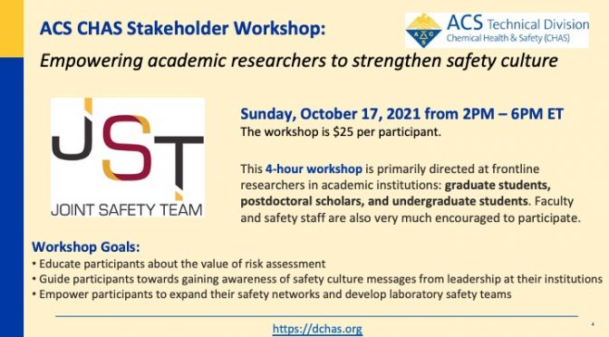CHAS Workshop: Empowering academic researchers to strengthen safety culture, October 17 2021