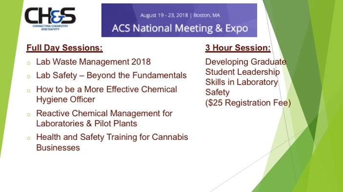 Fall 2018 Chemical Health and Safety Workshops   ACS