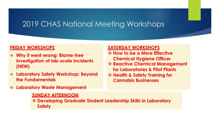 2019 Chemical Health and Safety Workshops | ACS Division of Chemical