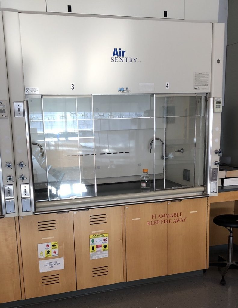 Figure 1 Fume Hoods And Storage Cabinets Ventilated Corrosives Cabinet On Left Unventilated Flammables Right