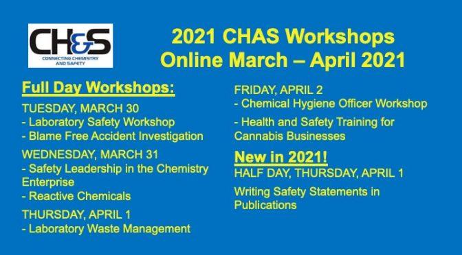 CHAS Spring 2021 Professional Workshops, APril 1 – April 2