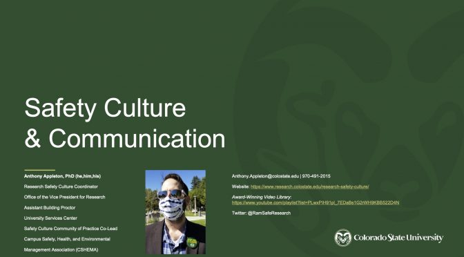 Safety Culture & Communication: Safety Journal Club Discussion, Nov 10, 2020